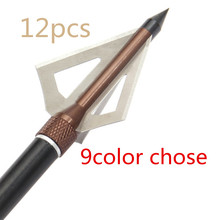 12pcs Black arrow broadhead use Crossbow Hunting  recurve   archery Carbon arrow universal 100GR 3 Blades LonBow Shooting target