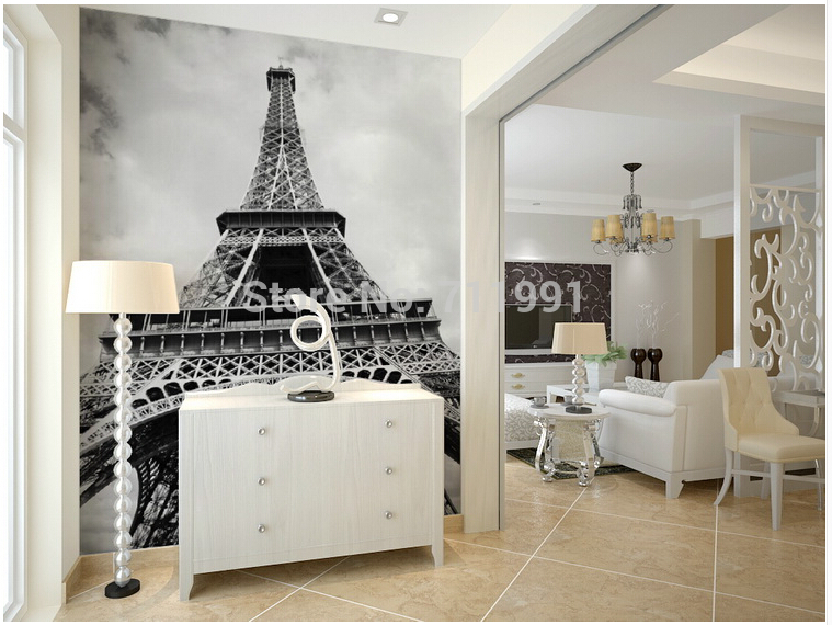Paris Tower in Paris in black and white wallpaper custom scenery for study bedroom living room TV backdrop mural stereoscopic 3D<br>
