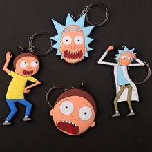 New Film Rick and Morty Keychain Toy Stranger Things Superman Daredevil Niffler Suicide Squad The Joker PVC Pocket Key Ring Toys(China)