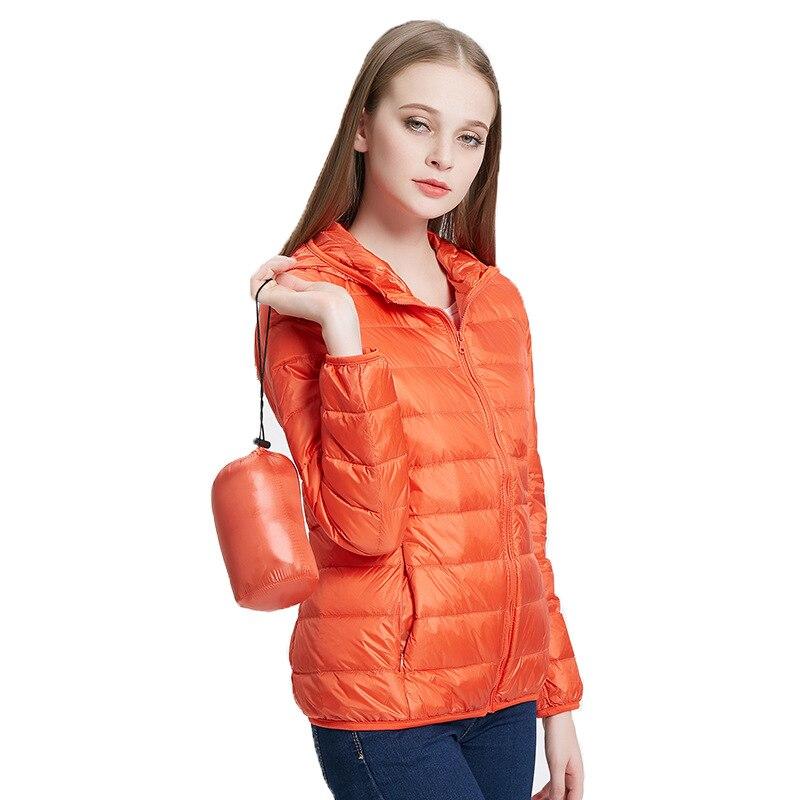 90% Duck Down Hoody Jackets Winter Women Ultra Light Down Jacket Long Sleeve Warm Slim Coat Parka Female Solid Portabl Outwear