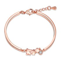Woman Fashion Accessories Cute Lucky Dog bracelet Rose Gold Colour AAA Zircon Chain bangle Bracelet Pulseiras fashion Jewelry(China)