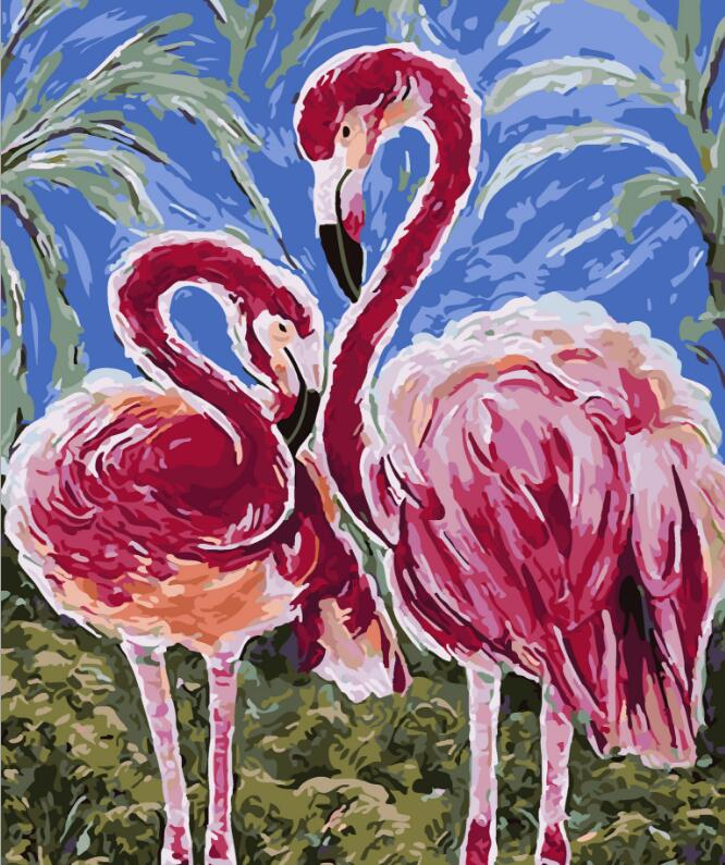 2017 New 22 styles Digital Diy oil painting by numbers Flamingo picture on canvas oil paint coloring by number drawing x38 18
