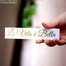 Three Ratels MT-003 12.1*2.3cm 2 pieces Life is Beautiful Italian La Vita e Bella nickel metal sitcker car laptop