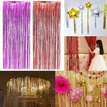 Plastic Shimmer Metallic Fringe Foil Tinsel Curtain Wedding Birthday Party Door Decorative Crafts Events Party Supplies Favors