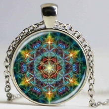 Multicolor Flower of life pendant necklace silver chain statement long necklace glass dome om mandala yoga jewlery buddhist gift