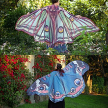 Beauty Womens Butterfly Moth Wings Pashmina Chiffon Cloak Cape Beach Towel Shawl Scarves(China)