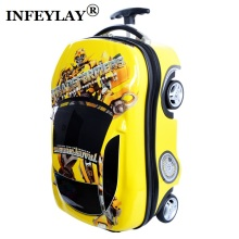 COOL Bumblebee cars kids 3D ABS+PC trolley case children luggage child suitcase toy boy cartoon 18inch students Boarding box