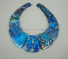 New Arrival Beautiful Trendy Blue Gifts Sea Ocean Sediment Jasper Slice Beads Top Drilled Slab Shape Accessories Jewelry Making
