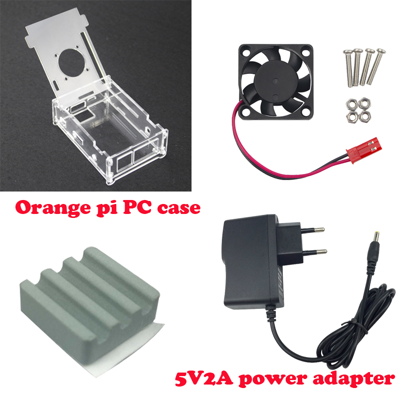 Hot Sale Transparent Acrylic Case For Orange Pi PC+Ceramic heat sink+cooling fan+DC 5V2A power charger for Orange Pi PC Plus<br><br>Aliexpress