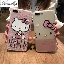 Cartoon Cute Hello kitty soft Silicon case for iphone 6s 6 Plus 5s SE Full Body Protection coque For iphone X 7 8 Plus fundas(China)