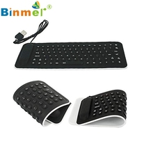 C88Portable USB Mini Flexible Silicone PC Keyboard Foldable for Laptop Notebook Black U0302(China)