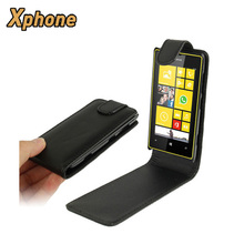On Sale Housing for Nokia Lumia 520 Up and Down Pure Color Vertical Flip Mobile Phone Leather Case Cover for Nokia Lumia 520