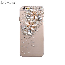 Laumans Top Quality Phone Cases For Apple Iphone 6 6s X Pearl Flower 3D Bling Rhinestone Crystal Back Phone cover 4s 5s 7 8 plus(China)
