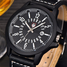 Fashion Men's Watch Leather Band Military watch Sport Analog Quartz Date men's watch Wrist Watch erkek kol saati Clock men