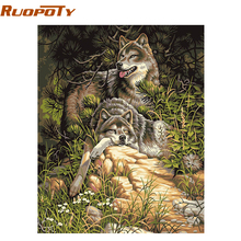 RUOPOTY Wolf Animals DIY Painting By Numbers Acrylic Picture Wall Art Canvas Painting Hand Painted Home Decor 40x50cm Artwork(China)