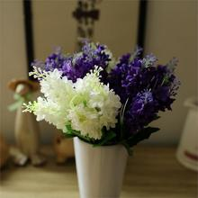 2016 High Quality Lovely Dark Purple White 5 Heads Artificial Fake Hyacinth Artificial Flower Bedroom Home Office Cafe Decor