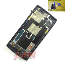 Black LCD Display + Digitizer Touch Screen for OPPO X909 Find 5 Assembly Complete with Frame Bezel Replacement flex cable.