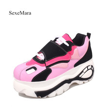 2017 high quality SexeMara Fashion brand Women Casual Shoes Ladies Flat Platform Shoes wedge Female Shoes white pink
