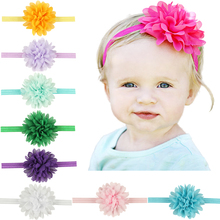New newborn headbands chiffon flowers hair accessories for children satin flower elastic baby girl headwears with 10 colors(China)