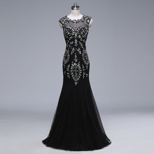 Shining Trumpet 2016 New Sexy Scoop Straps Gold Black Beaded Chiffon Prom Dresses Long Evening Party Dress vestido de festa(China)