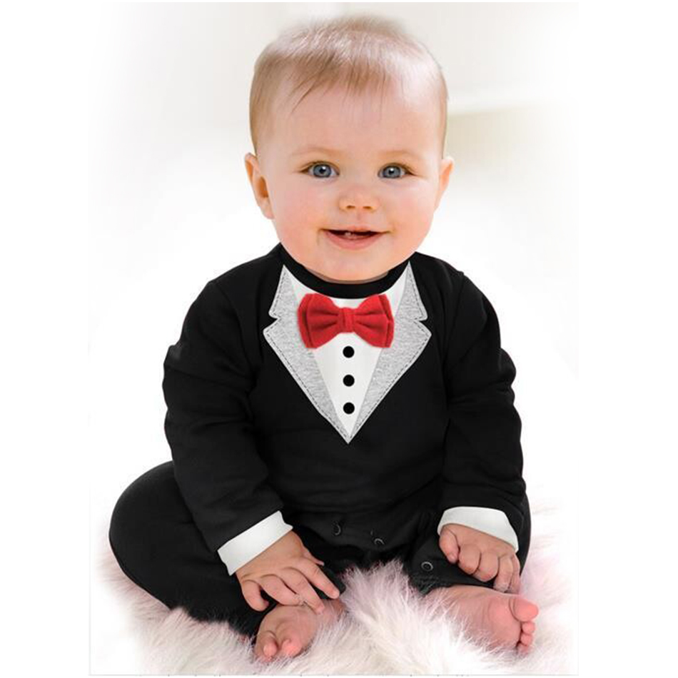 Kid Children Baby Clothes Sets Baby Girl Boy Bodysuits&One-pieces Gentleman Tuxedo Black Red Infant Baby Jumpsuit Unisex
