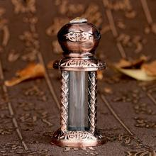4ML Glass&Metal Antiqued Style Retro Bronze Hollow Flower Engraved Refillable Empty Perfume Container Home Decoration Bottle