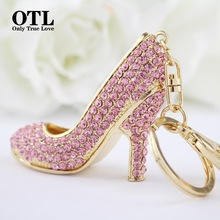 2016 New Style Chic High Heel Crystal Rhinestone Keychains Shoe Keyring charm Women Handbag key holder Girl Bag Pendant Jewelry