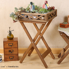 Knock Down Side Table Creative Vintage Farm Fir Wood Tray Top Table(China)