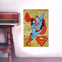 European Retro cartoon superman sign board Wall stickers metal iron crafts picture Furnishing articles painting draw bar house(China)