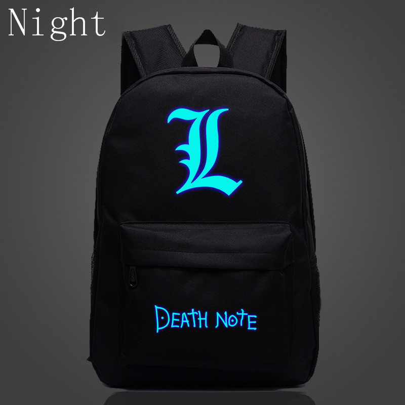 2017 Hot Death Note School Book Children Luminous Backpack For Teenagers Nylon Shoulder Bag Students Travel Bag Mochila Escolar(China)