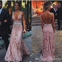 2017 Hot Summer Beach Vintage Pink Lace Long Bridesmaid Dresses With Beaded Sash Deep V-neck Backless Cheap Maid of Honor Dress