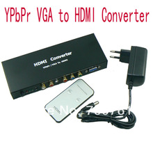2pcs/lot High Quality Component Video YPbPr VGA to HDMI SPDIF Converter Adapter 1080p Video Audio RCA L/R Free Shipping