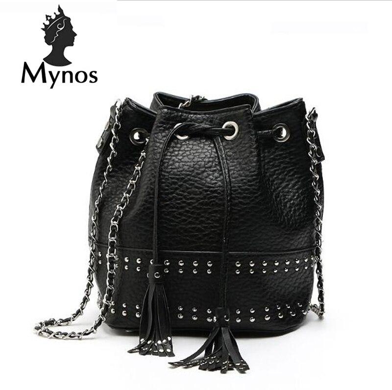 New M Brand  Women Messenger Bag String Black Solid Crossbody Bags Big Women Rivet Vintage Leather Bucket Bag Sac A Main Femme<br><br>Aliexpress