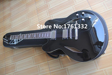 Black body DG-335BK semi-hollow double f holes JAZZ electric guitar with 2 humbucking pickups,can be changed as your request