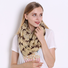 2017 High Quality Women Scarf Cotton Voile Polyester Scarves Printing Autumn Loop Foulard Winter Shawl Christmas Deer Bandana(China)