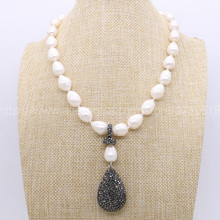 "Natural pearl handcrafted druzy necklace big pearls & black drop pendant beads 16"" pearl necklace gems for women New style 780"