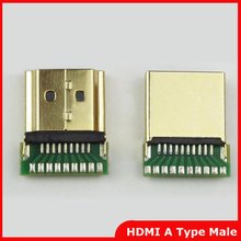 10pcs/lot Gold Plated HDMI A Type Male Plug Connector with PCB Board Version 1.4 19PIN(China)