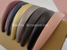 "10PCS 25mm 1.0"" PU leather Covered Plain Plastic Hair Headbands with black velvet back,Assorted Colors,BARGAIN for BULK(China)"