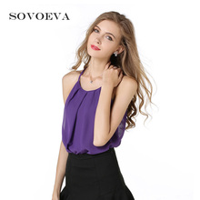 SOVOEVA 2017 Summer Camis for Women Solid Upper Garment Sleeveless Chiffon Vest Tank Tops Female Fashion Women Camisoles(China)