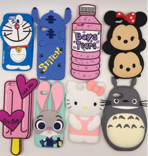 2016 New 3D Cute Cartoon rabbit Totoro Stitch cat Ice Cream  Soft Silicone Case For iPhone7 7Plus 4.7inch 5.5inch Phone cases