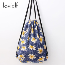 lovielf NEW Women Lady Girl Fresh style Simple Floral printed daisy flower Blue Canvas Draw String Bag Backpack