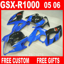 Injection molding 100% fit for Suzuki fairings GSXR1000 05 06 blue black fairing kit GSXR1000 2005 2006 IT34