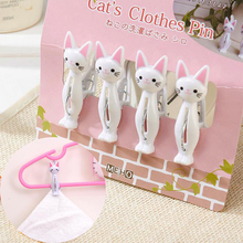 4Pcs/set Plastic Cute Cat Clothes Pegs Towel Clip Bed Sheet Quilt Underwear Washing Line Hooks Hangers Pin Laundry