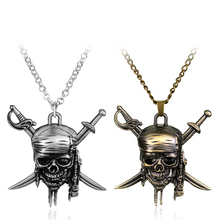 Movie Around Jewelry Pirates of the Caribbean Necklace Cross Swords Skull Head Pendant Necklace Vintage accessories