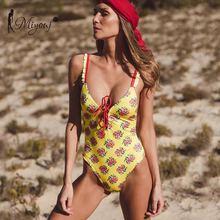 Buy MIYOUJ 2018 Sexy Floral Push One Piece Swimsuit Bathing Suit Women Swimwear Halter Swimsuit Female Bather Swim Beach Wear