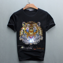 Wholesale Hot Sale Sale O-neck Men Luxury Diamond Design Tshirt Fashion T-shirts Funny T Shirts Brand Cotton Tops And Tees 2017