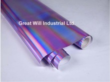 Holographic Chrome Vinyl Car Wrap Cover Film Hologram Chrome Air Release Unique Luxury Car Wrap Foil Size 1.52*20M/Roll