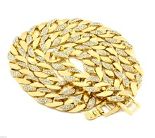 "30"" length cuban curb chain thick white \ gold plated pave full half cubic zircon hip hop necklace personality men jewelry"