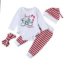 4PCS Xmas Infant Baby Boy Girl Stripe Romper Tops+Pants Christmas Outfits Set children clothing Children Clothing Baby Wear(China)