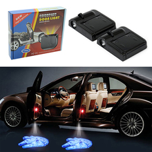 2PCS/Set Wireless Car Door Projector Lights Star Wars Millennium Falcon Welcome Step LED Light Laser Ghost Shadow Car Styling(China)